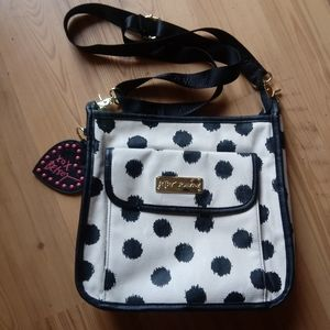 Betsey Johnson Black and White Polka Dot Crossbody